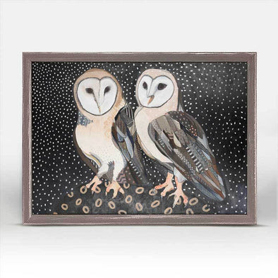 Barn Owl Pair Mini Framed Canvas 7x5