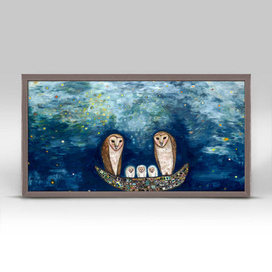 Barn Owl Treasure Nest Mini Framed Canvas 10x5