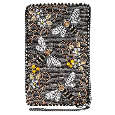 Bee Awesome Beaded Honeybee Crossbody Phone Bag