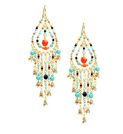 Handmade Bohemian Beaded Gold Plated Chandelier Earrings