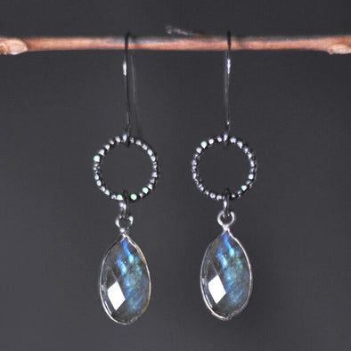 Small Circle with Labradorite Earrings