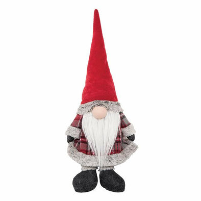 Red Plaid Gnome Door Stop