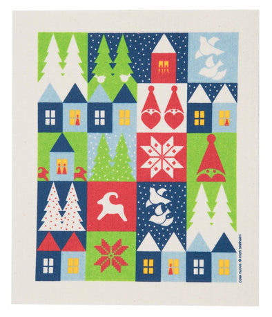 Holiday Houses Swedish Dishcloth