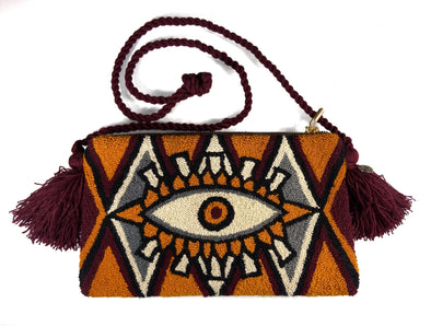 Third Eye Clutch Bag in Mustard Patterns Dark Brown Tassels