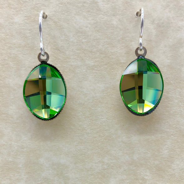 Green Oval Dangle Earrings