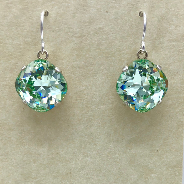 Blue Green Round Dangle Earrings