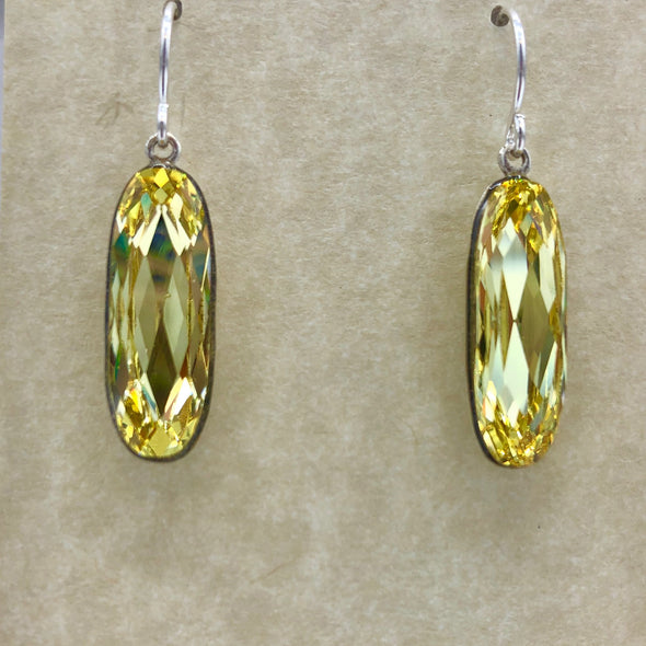 Long Oval Yellow Earrings