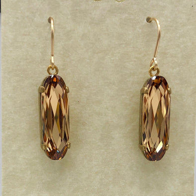 Golden Long Oval Dangle Earrings