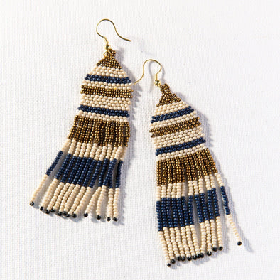 Navy Ivory Gold Stripe Seed Bead Earring
