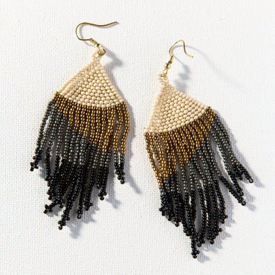 Black Ombre Seed Bead Earring