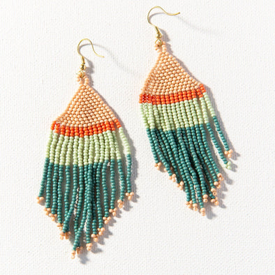 Teal Pink Mint Coral Stripe Seed Bead Earring