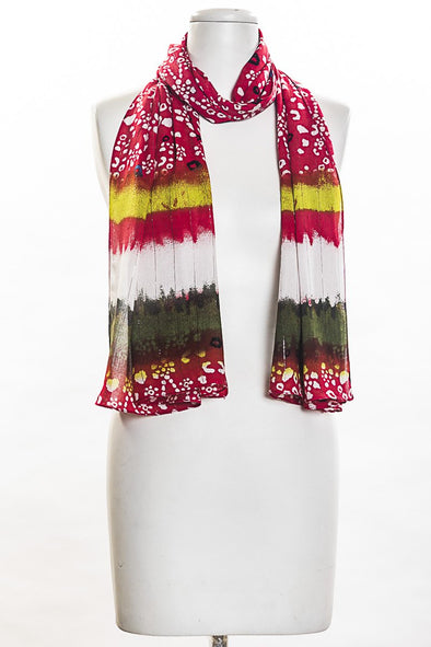 Tie Dye Look Scarf in Red