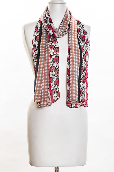 Animal Flowers with Checks Scarf in Coral