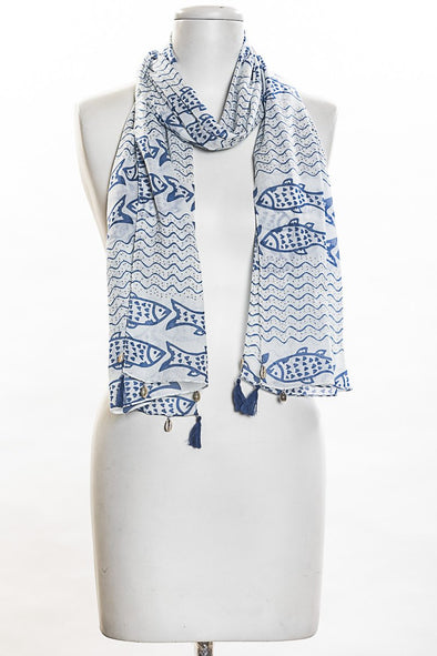 Fish Print Scarf in Jeans