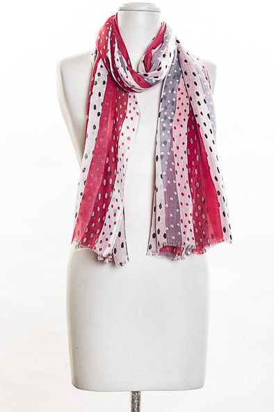 Dots with Panels Scarf in Red