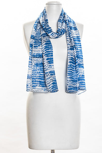 Smudgy Dots Print Scarf in Blue