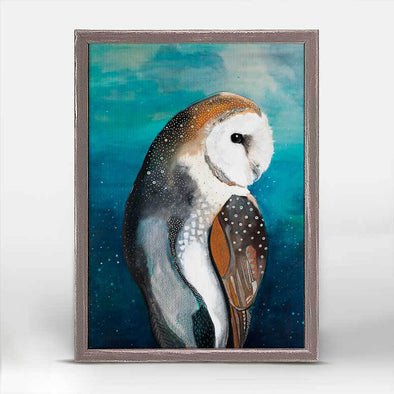 Starry Barn Owl Mini Framed Canvas 5x7