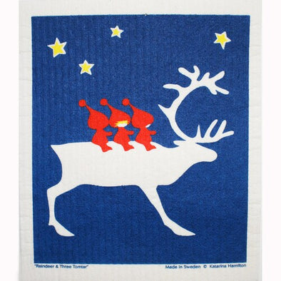 Reindeer & Tomte Swedish Dishcloth