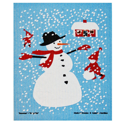 Snowman & Stuga Swedish Dishcloth