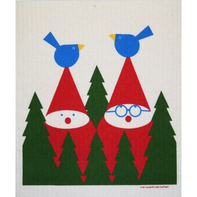 Tomte with Birds Swedish Dishcloth