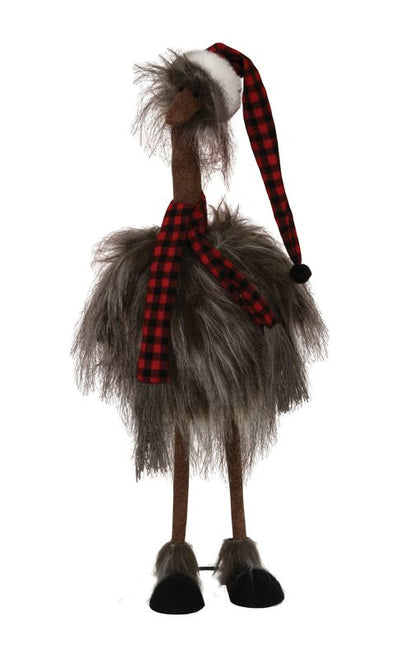 Standing Plush Furry Ostrich
