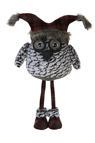 Standing Plush Fur Grey Owl with Cap