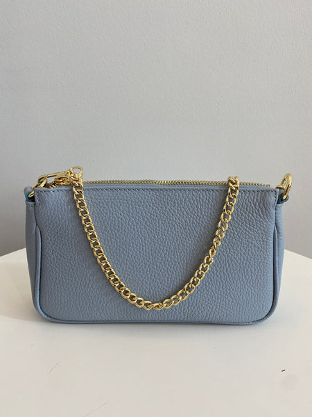 Ledertasche Tracolla medium hellblau