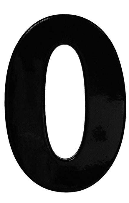 Bold black reflective house number 0