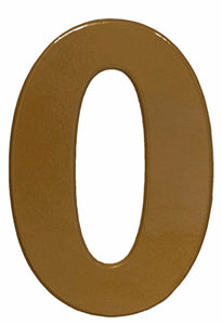 Bold gold reflective house number 0