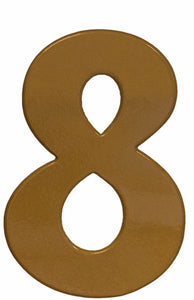 Bold gold reflective house number 8