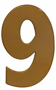 Bold gold reflective house number 9