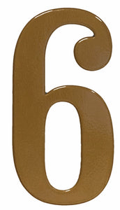 Fancy gold reflective house number 6