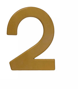 Modern gold reflective house number 2