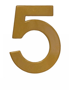 Modern gold reflective house number 5