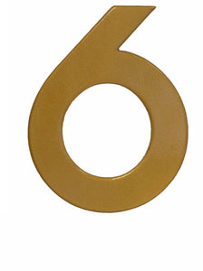 Modern gold reflective house number 6