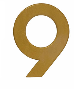 Modern gold reflective house number 9