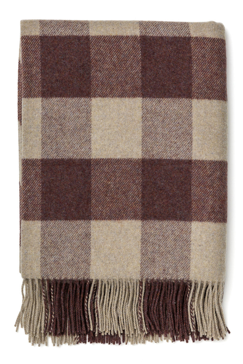 Broad Check Brown Limited Edition Lambswool Throw