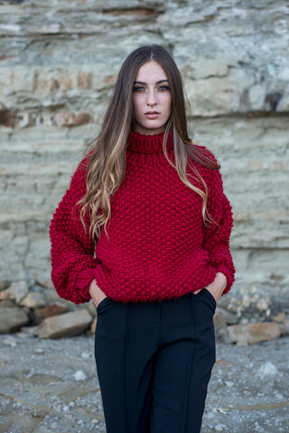 Lulu Hand Knit Sweater - Red