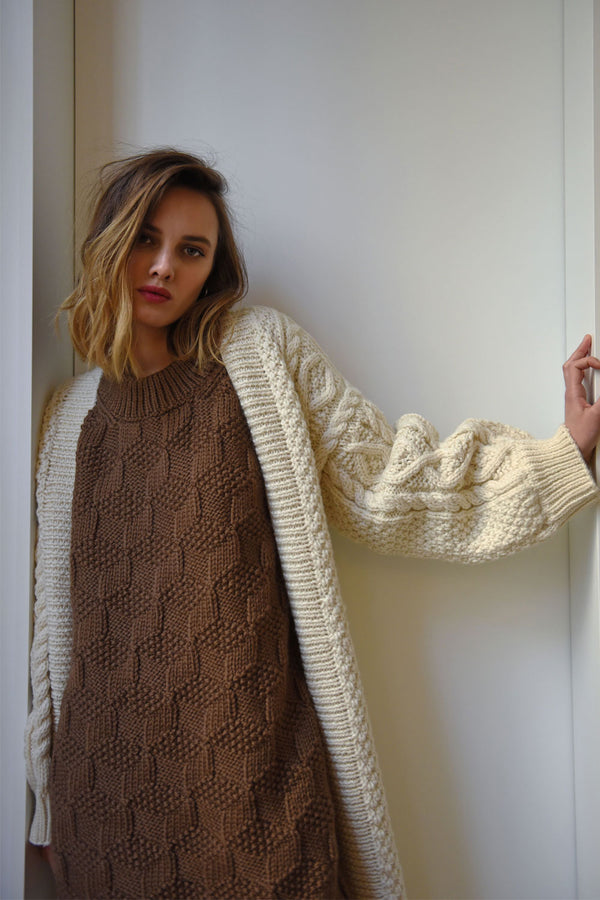 Diamond Long Cardigan (Hand Knitted)