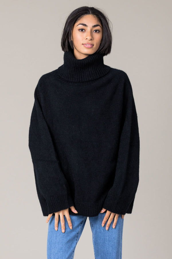 Nimbus Cowl Neck Sweater - Black