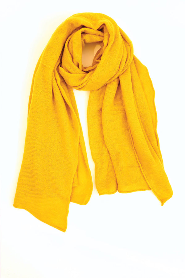 Cashmere Raw Edge Travel Wrap in Turmeric Yellow