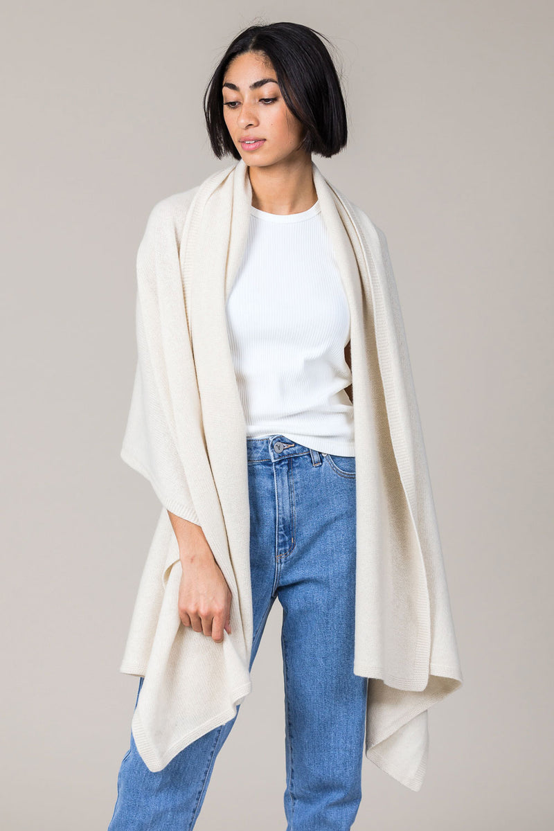Cashmere Travel Wrap in Antique White