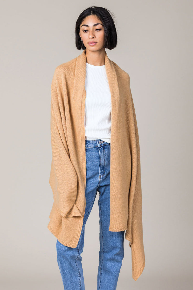 Cashmere Travel Wrap in Camel