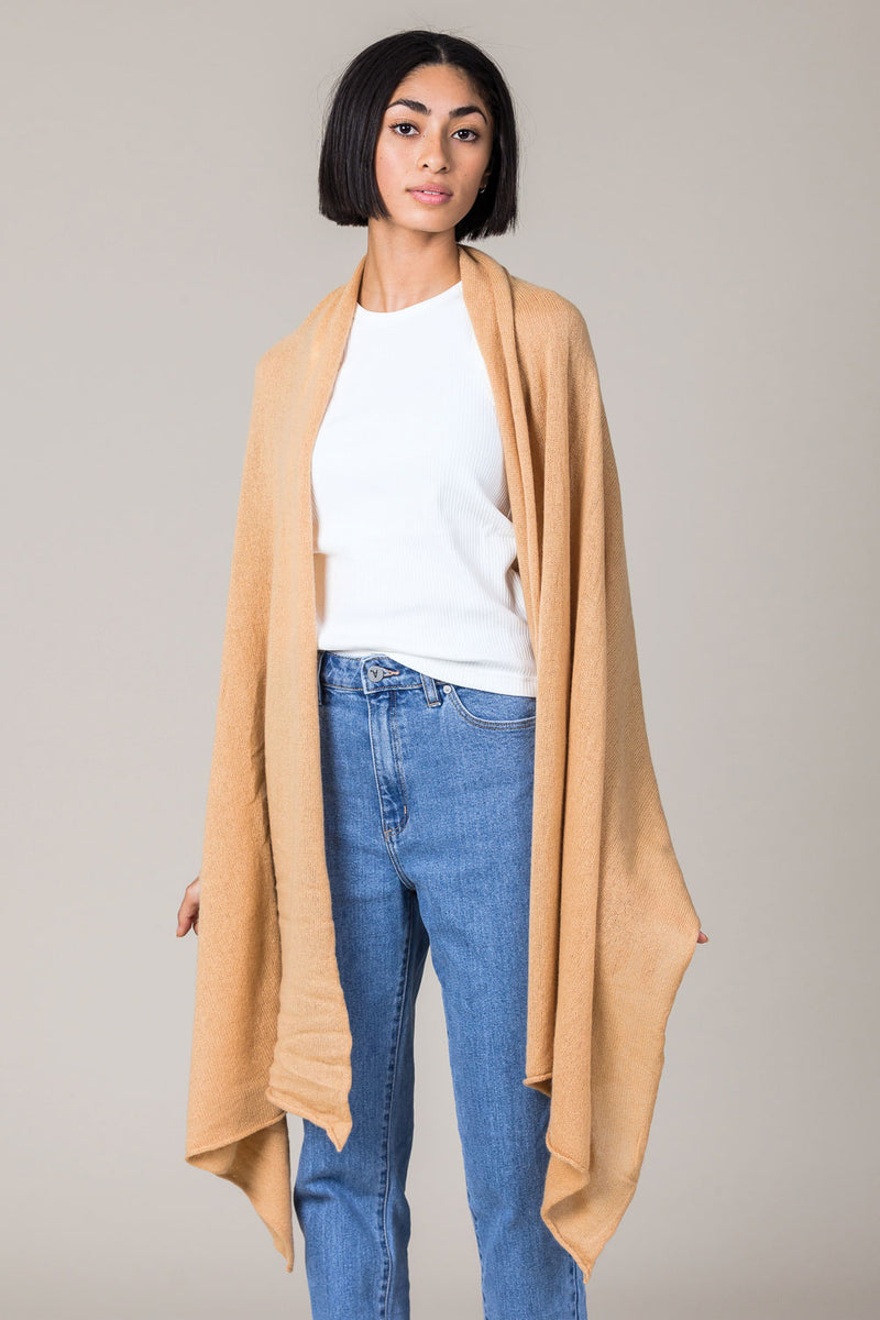 Cashmere Raw Edge Travel Wrap in Camel