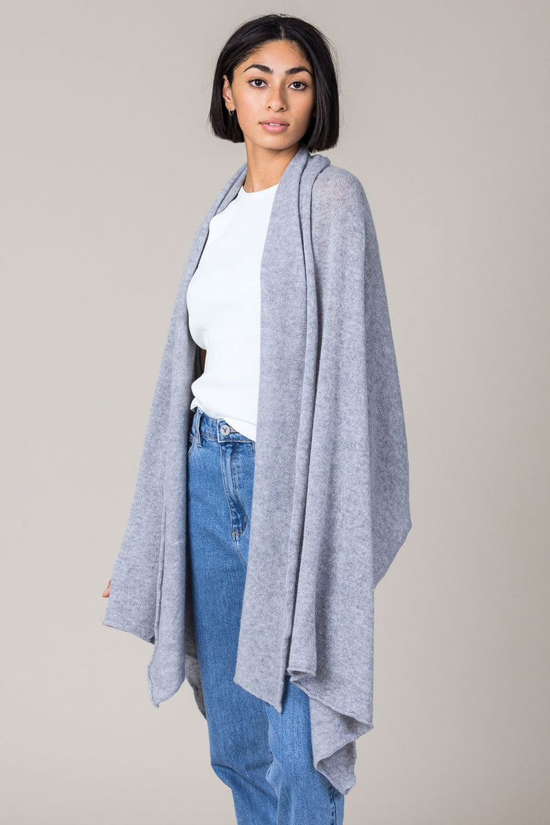 Cashmere Raw Edge Travel Wrap in Felt Grey