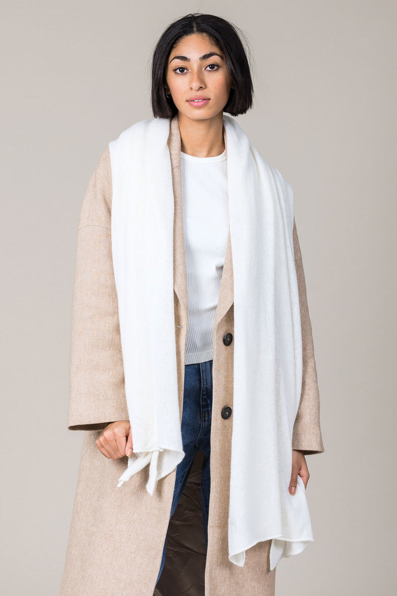 Cashmere Raw Edge Travel Wrap in Ice White