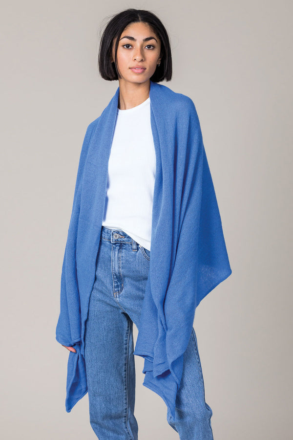 Cashmere Raw Edge Travel Wrap in Isfahan Blue