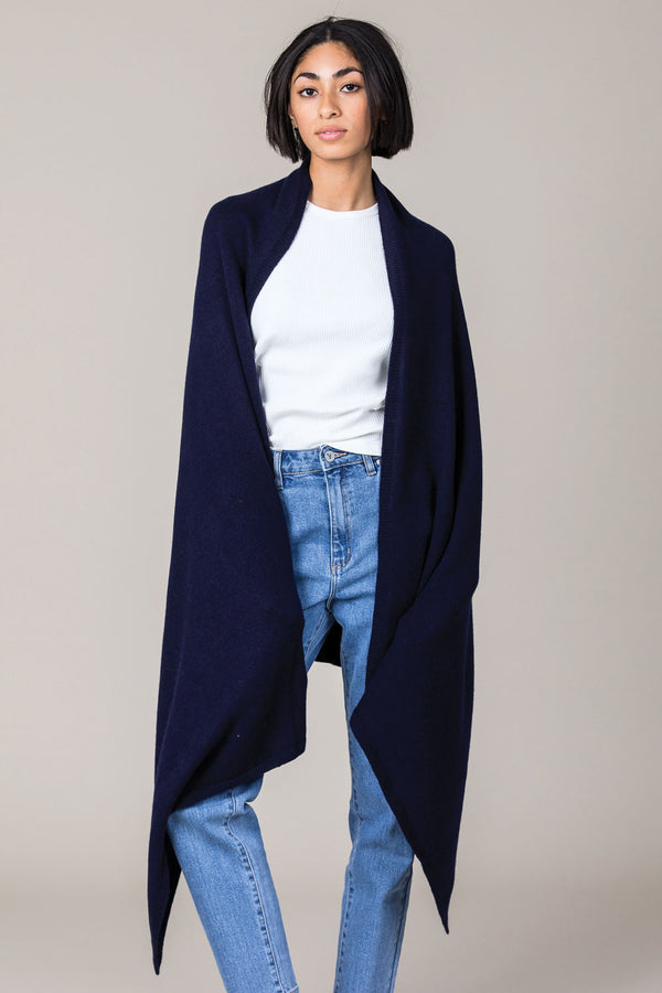 Cashmere Travel Wrap in Navy