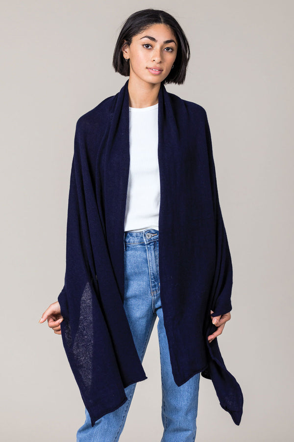 Cashmere Raw Edge Travel Wrap in Navy Blue