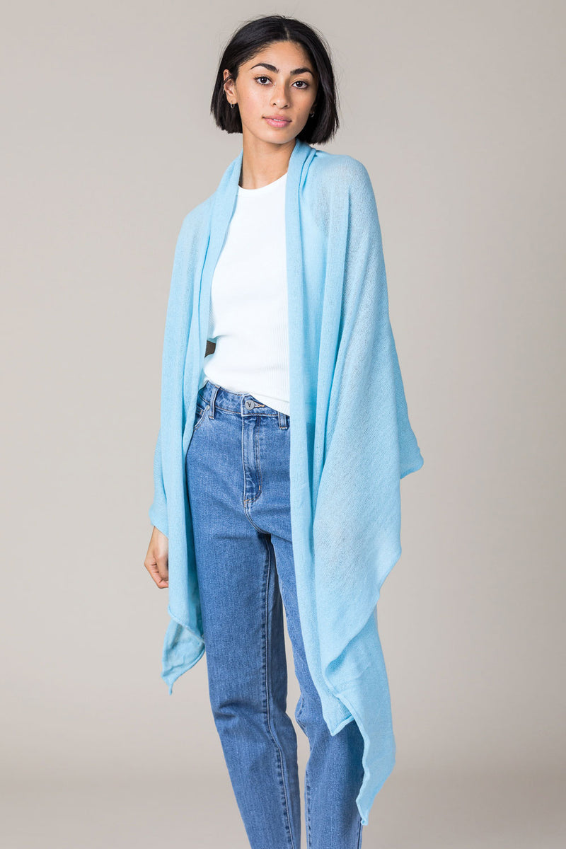 Cashmere Raw Edge Travel Wrap in Paradise Blue